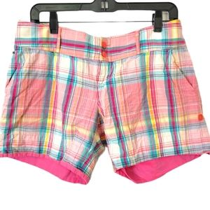 Lacoste Plaid Pink Women's Shorts Size 42